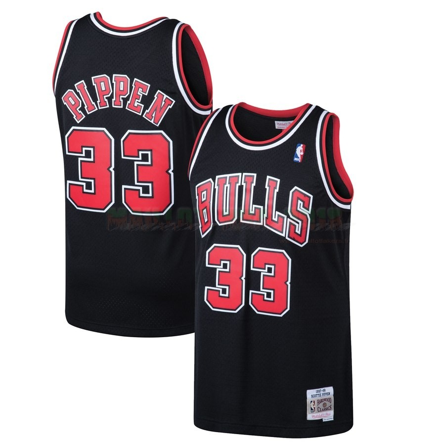 Maillot NBA Chicago Bulls NO.33 Scottie Pippen Noir Hardwood Classics 1997-98