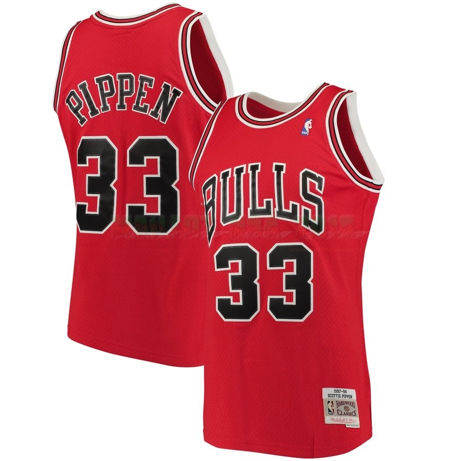 Maillot NBA Chicago Bulls NO.33 Scottie Pippen Rouge Hardwood Classics 1997-98