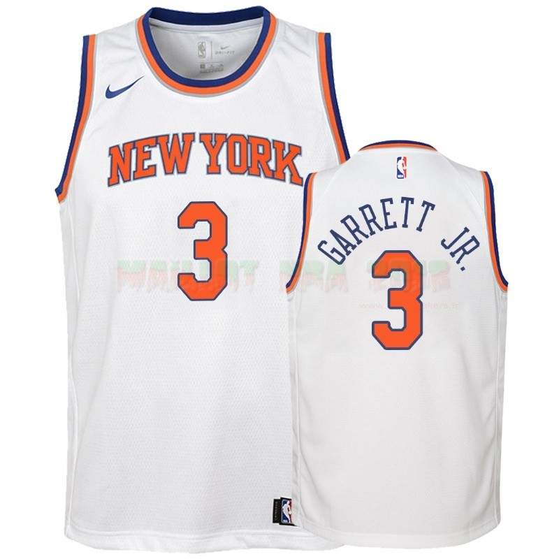 Maillot NBA Enfant New York Knicks NO.3 Billy Garrett Jr. Blanc Association 2018-19