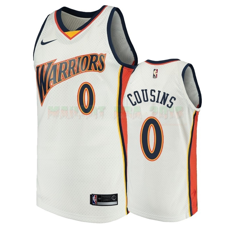 Maillot NBA Golden State Warriors NO.0 Demarcus Cousins Blanc Throwback