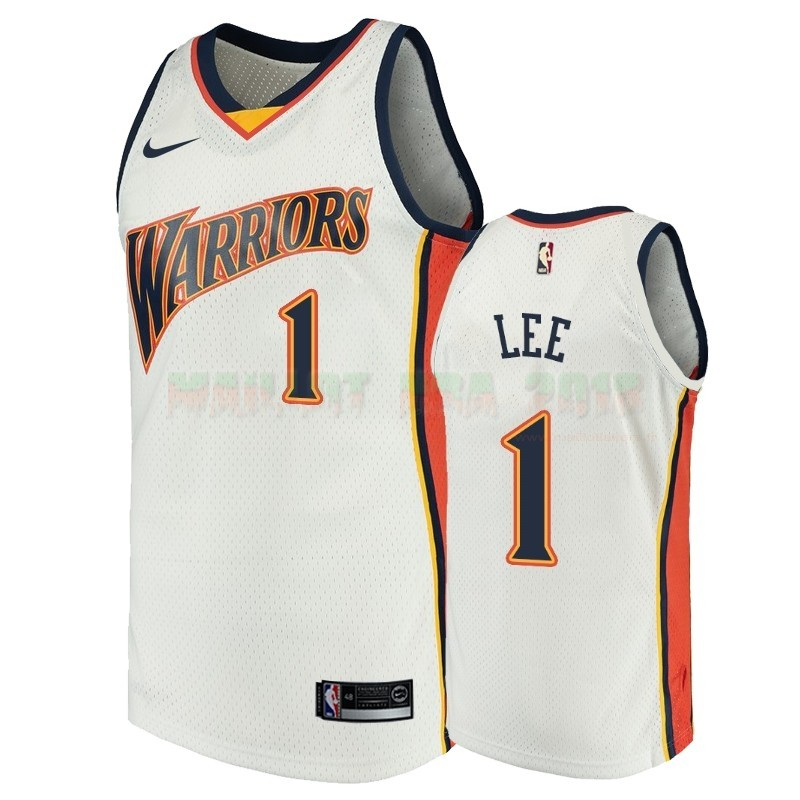 Maillot NBA Golden State Warriors NO.1 Damion Lee Blanc Throwback