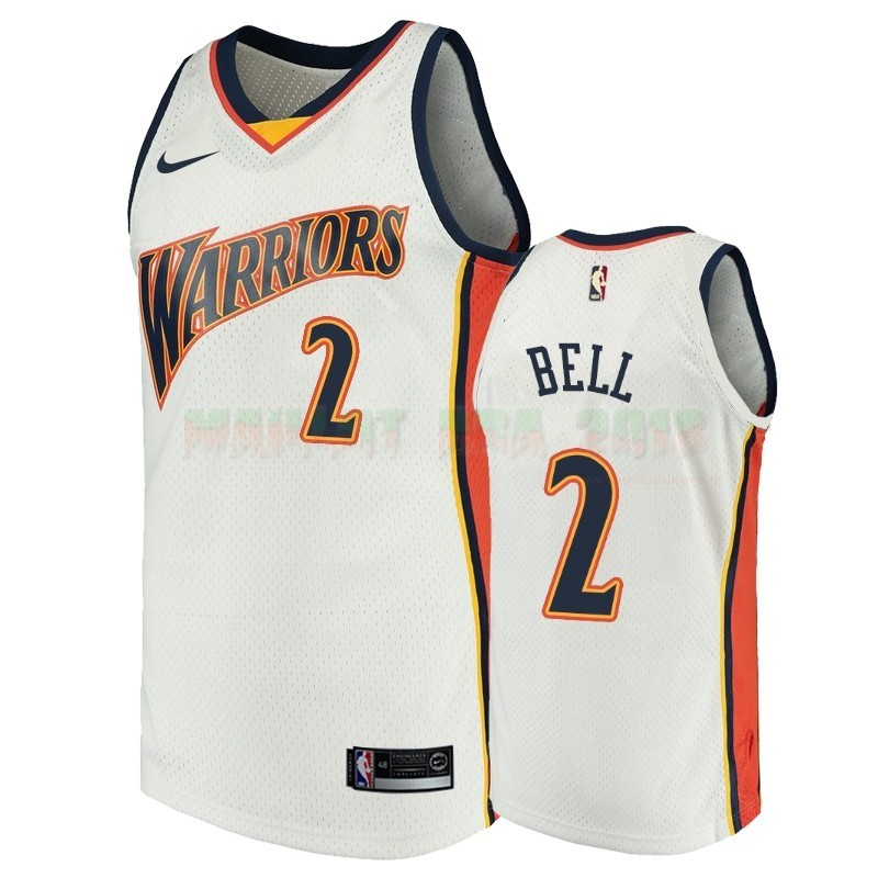Maillot NBA Golden State Warriors NO.2 Jordan Bell Blanc Throwback