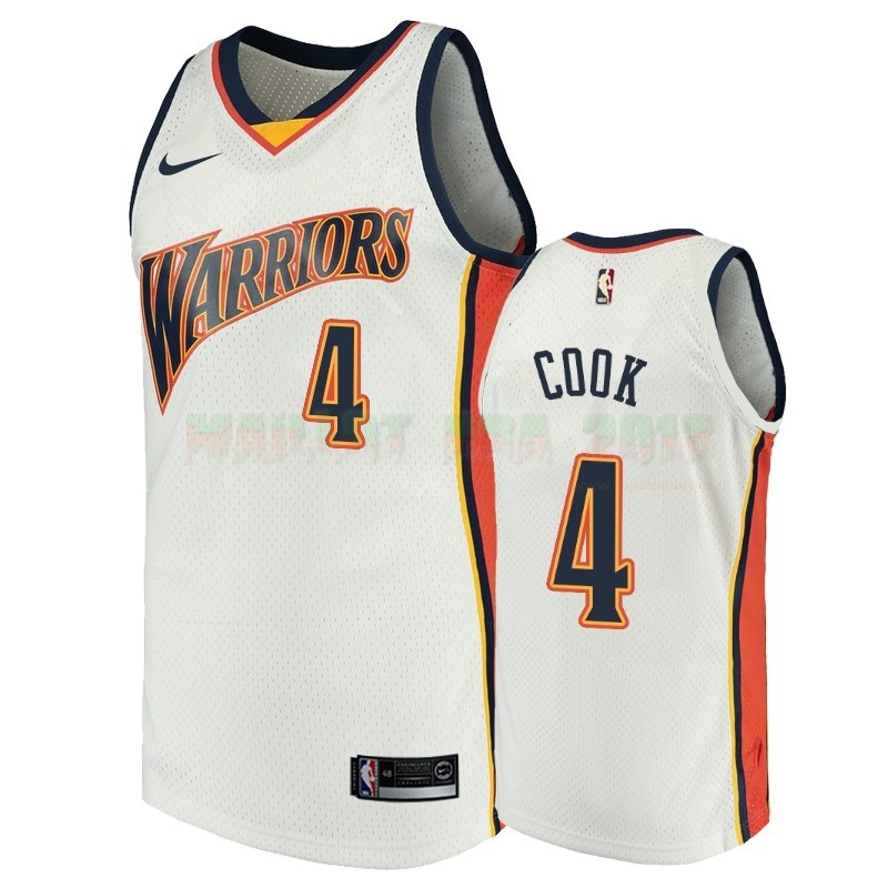 Maillot NBA Golden State Warriors NO.4 Quinn Cook Blanc Throwback