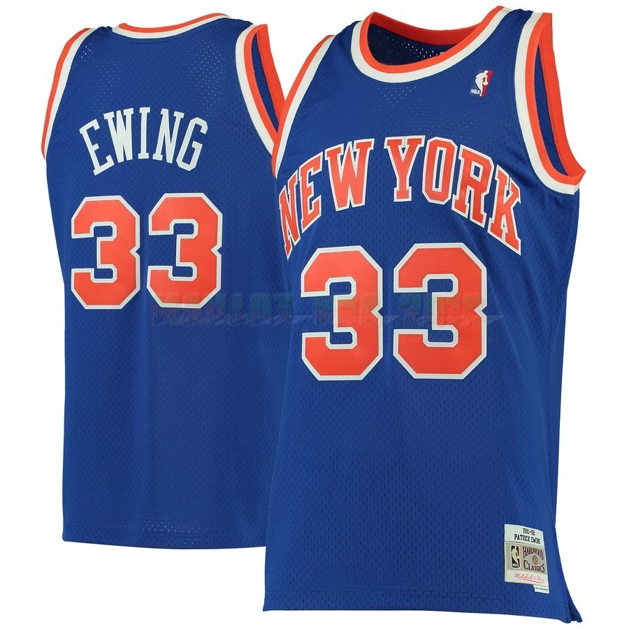 Maillot NBA New York Knicks NO.33 Patrick Ewing Bleu Hardwood Classics 1991-92
