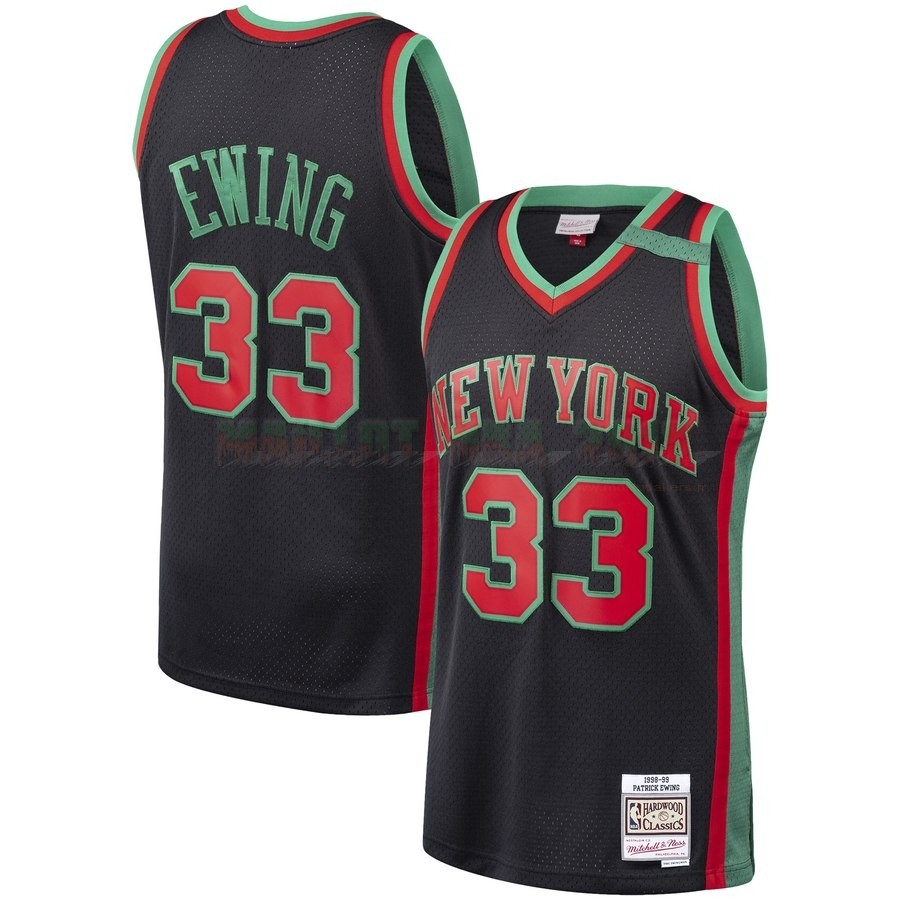 Maillot NBA New York Knicks NO.33 Patrick Ewing Noir Hardwood Classics