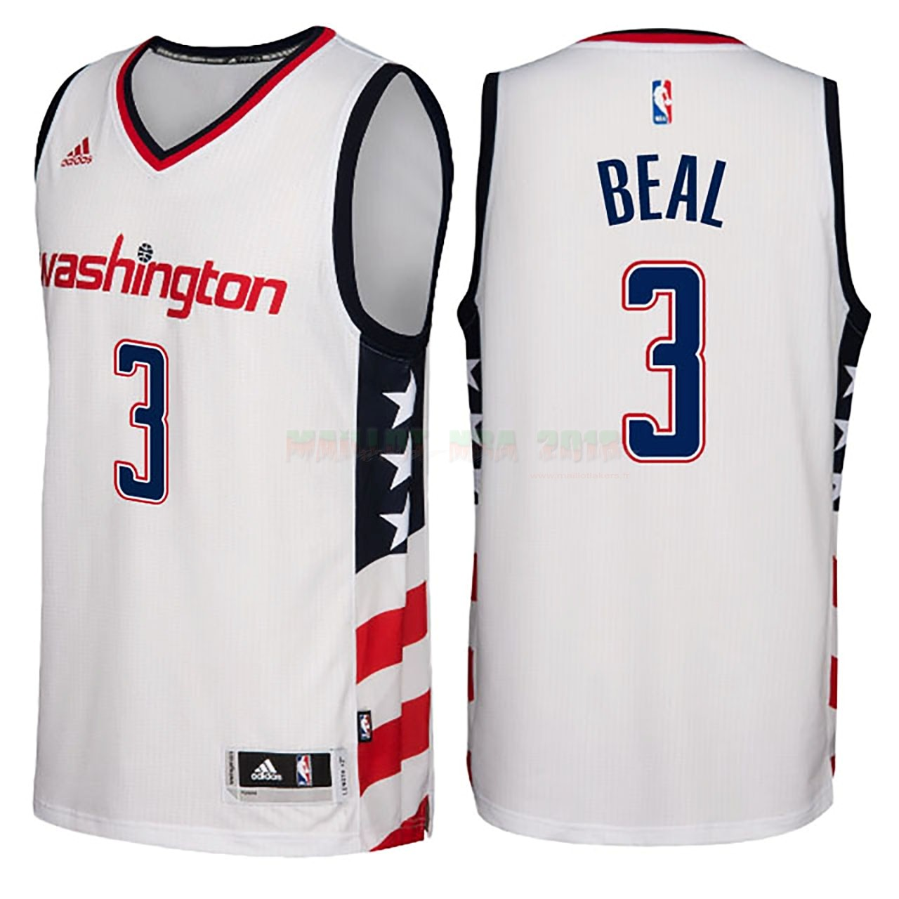 Maillot NBA Washington Wizards NO.3 Bradley Beal Blanc Hardwood Classics 2016-17