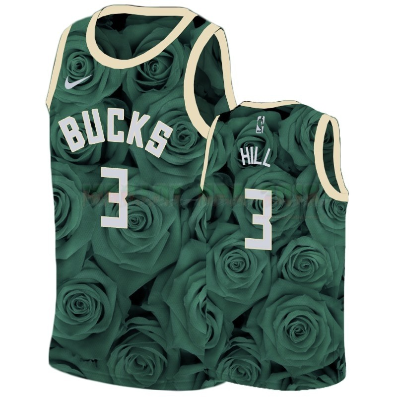 Maillot NBA Nike Milwaukee Bucks NO.3 George Hill Vert