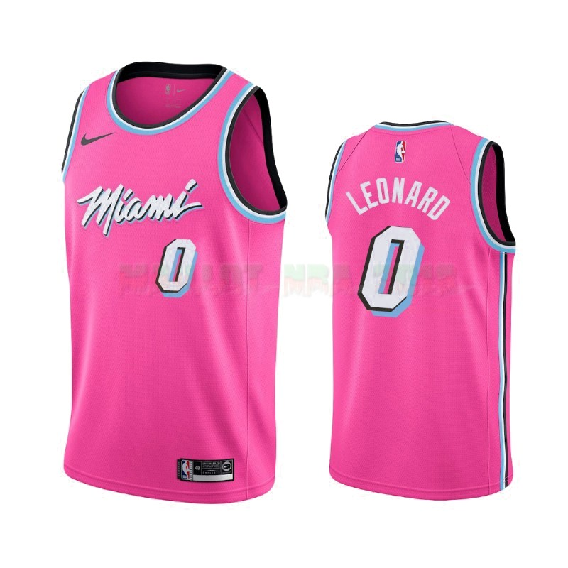 Maillot Earned Edition Miami Heat NO.0 Meyers Leonard Nike Rosa 2019-20