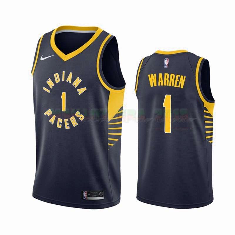 Maillot NBA Nike Indiana Pacers NO.1 T.J. Warren Gray Marine Icon 2019-20