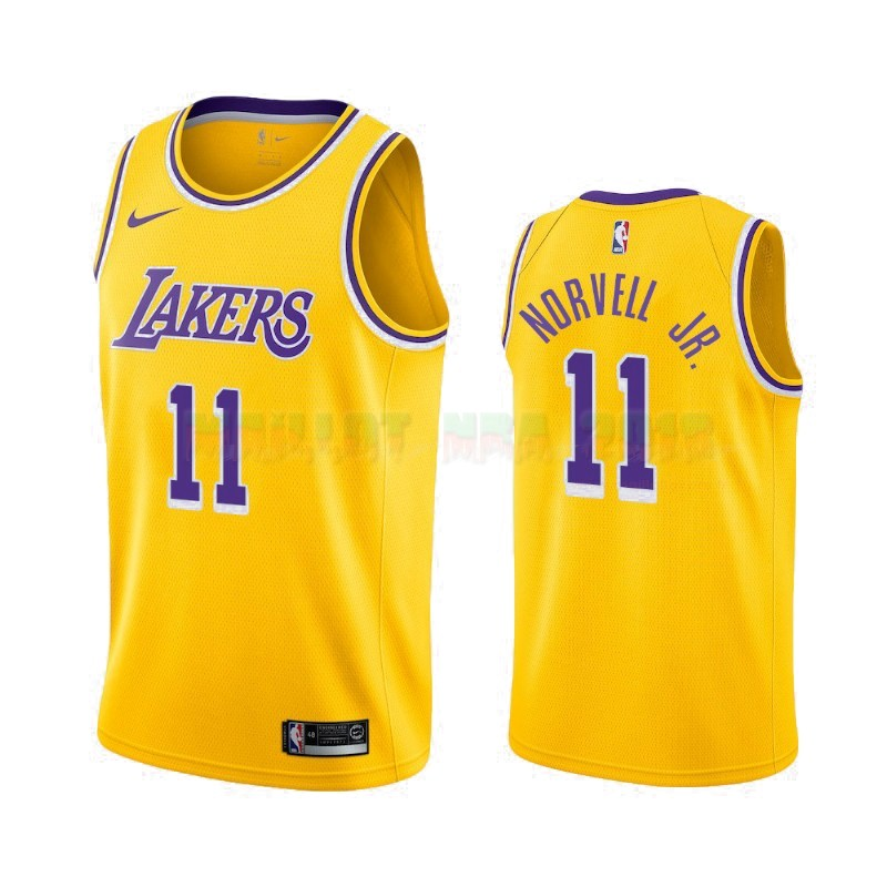 Maillot NBA Nike Los Angeles Lakers NO.11 Zach Norvell Jr Jaune Icon 2019-20