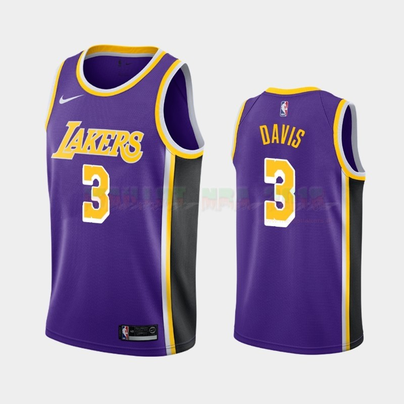 Maillot NBA Nike Los Angeles Lakers NO.3 Anthony Davis Pourpre Statement 2019-20