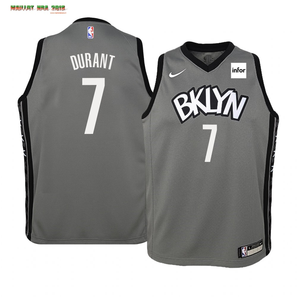 Maillot NBA Enfant Brooklyn Nets NO.7 Kevin Durant Gris Statement 2019-20