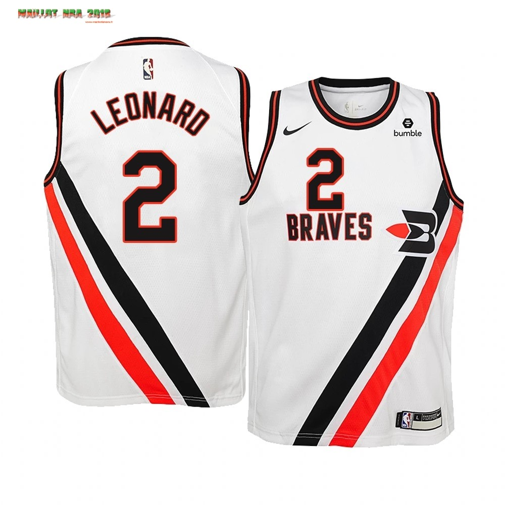 Maillot NBA Enfant Earned Edition Los Angeles Clippers NO.2 Kawhi Leonard Blanc
