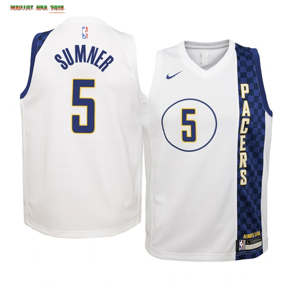 Maillot NBA Enfant Indiana Pacers NO.5 Edmond Sumner Nike Blacno Ville 2019-20