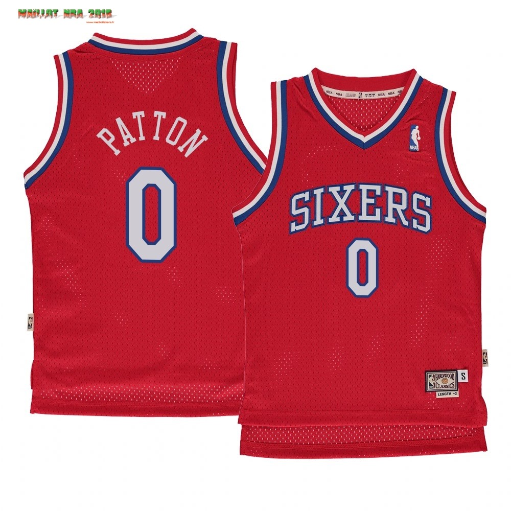 Maillot NBA Enfant Philadelphia Sixers NO.0 Justin Patto Rouge Hardwood Classics 1982-83