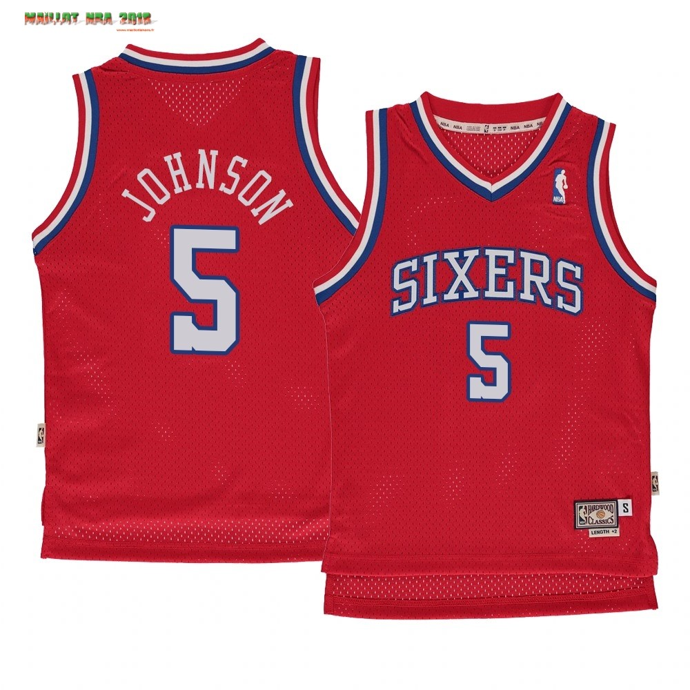 Maillot NBA Enfant Philadelphia Sixers NO.5 Amir Johnson Rouge Hardwood Classics 1982-83