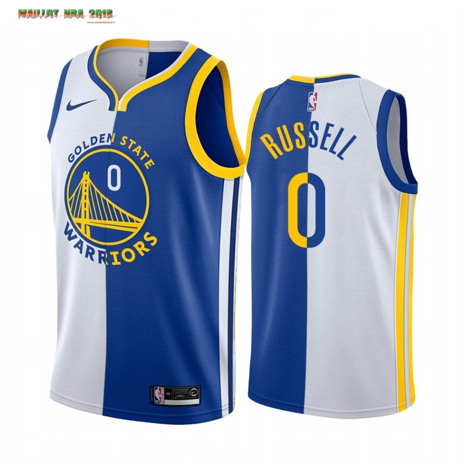 Maillot NBA Nike Golden State Warriors NO.0 D'Angelo Russell Bleu Blanc Split Edition 2019-20