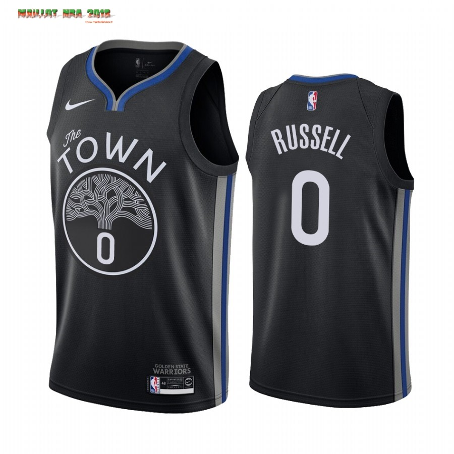 Maillot NBA Nike Golden State Warriors NO.0 D'Angelo Russell Nike Noir Ville 2019-20