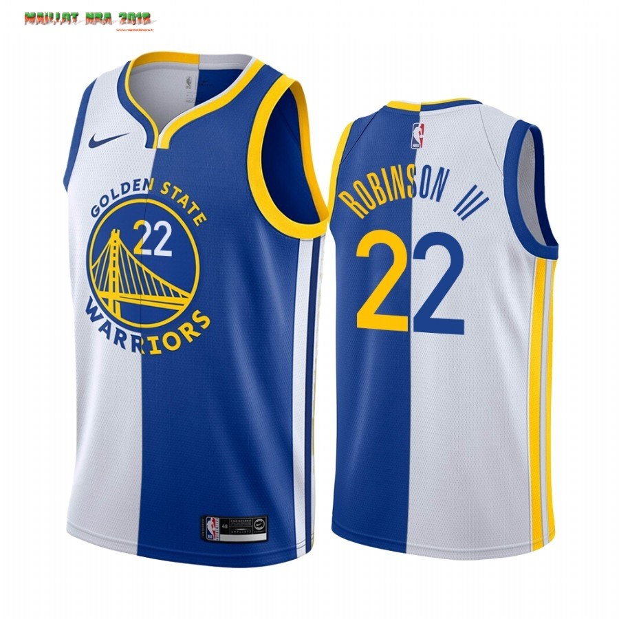 Maillot NBA Nike Golden State Warriors NO.22 Glenn Robinson III Bleu Blanc Split Edition 2019-20