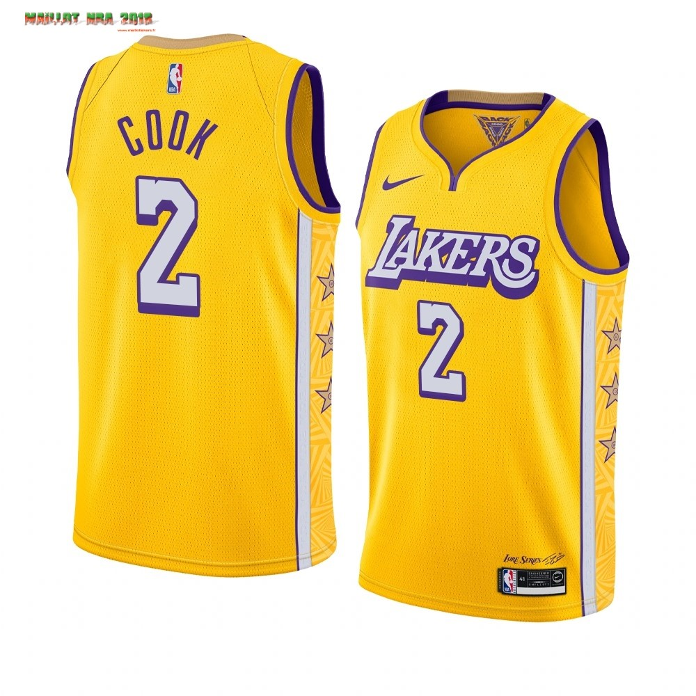 Maillot NBA Nike Los Angeles Lakers NO.2 Quinn Cook Nike Jaune Ville 2019-20
