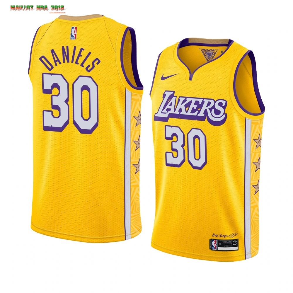 Maillot NBA Nike Los Angeles Lakers NO.30 Troy Daniels Nike Jaune Ville 2019-20