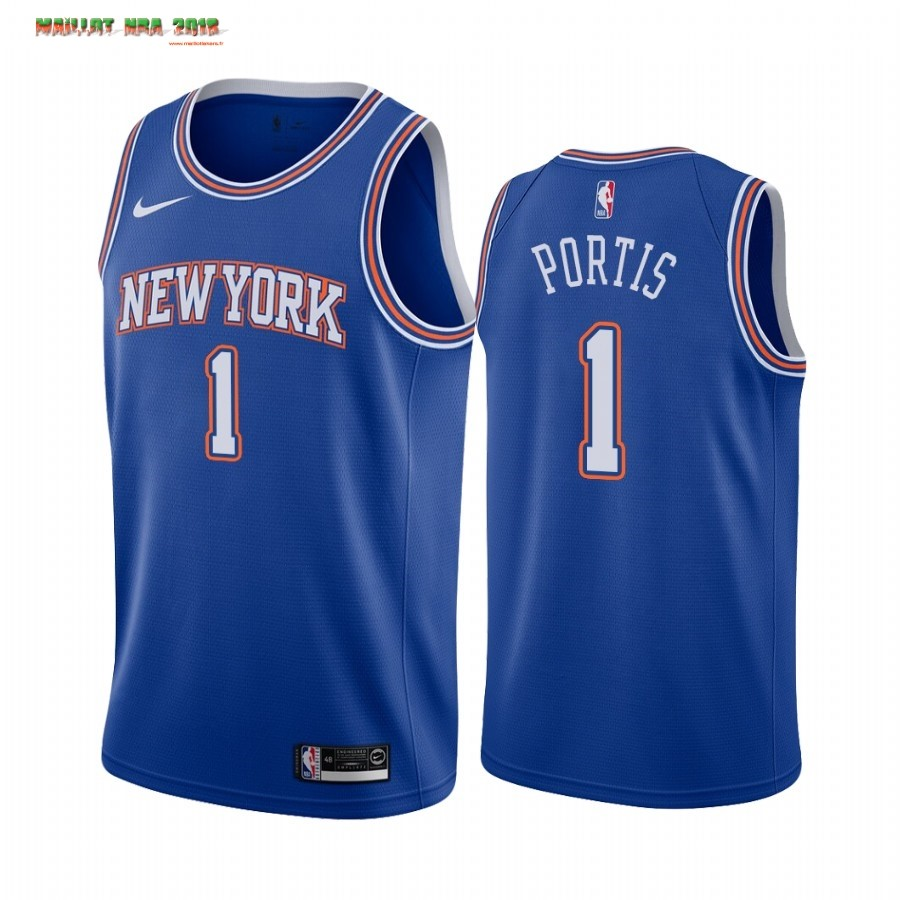 Maillot NBA Nike New York Knicks NO.1 Bobby Portis Bleu Statement 2019-20