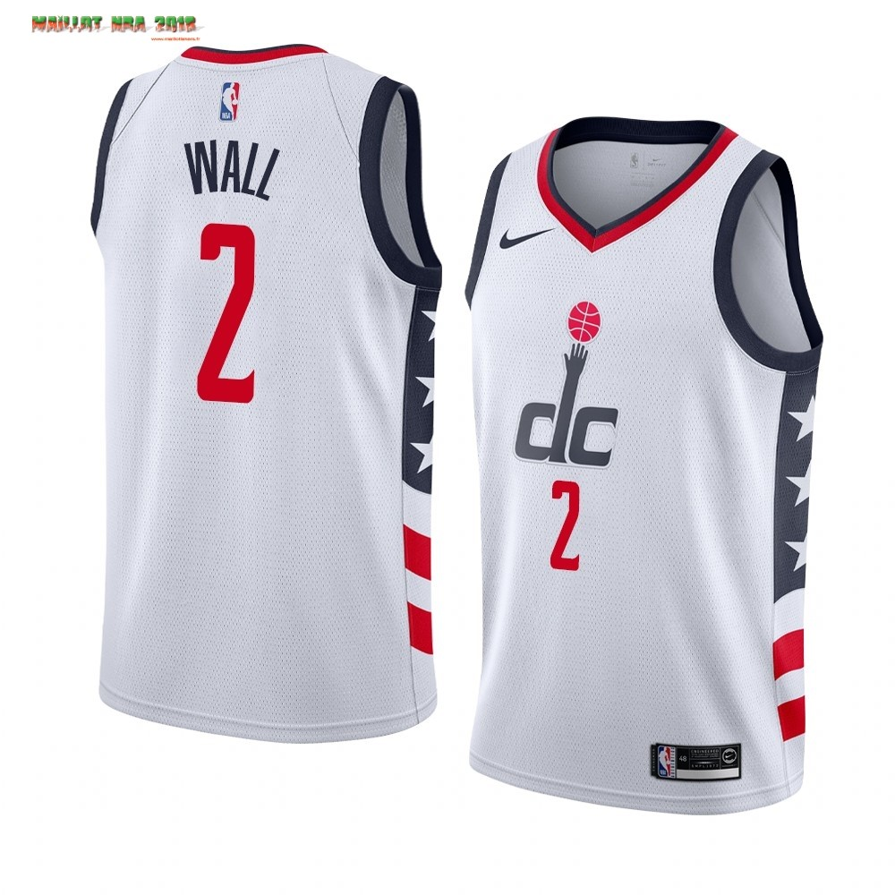 Maillot NBA Nike Washington Wizards NO.2 John Wall Nike Blanc Ville 2019-20