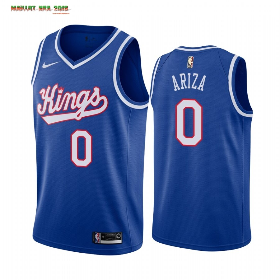 Maillot NBA Sacramento Kings NO.0 Trevor Ariza Bleu Throwback