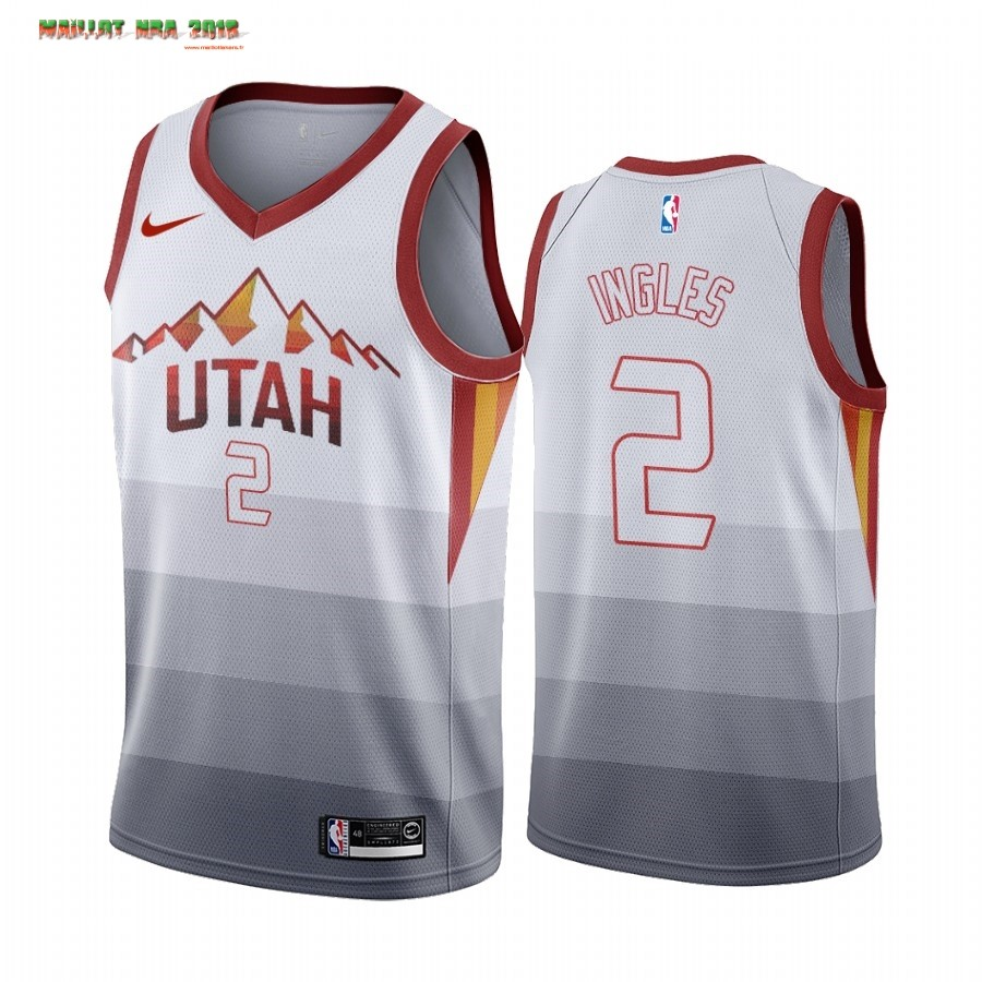 Maillot NBA Utah Jazz NO.2 Joe Ingles Blanc Throwback