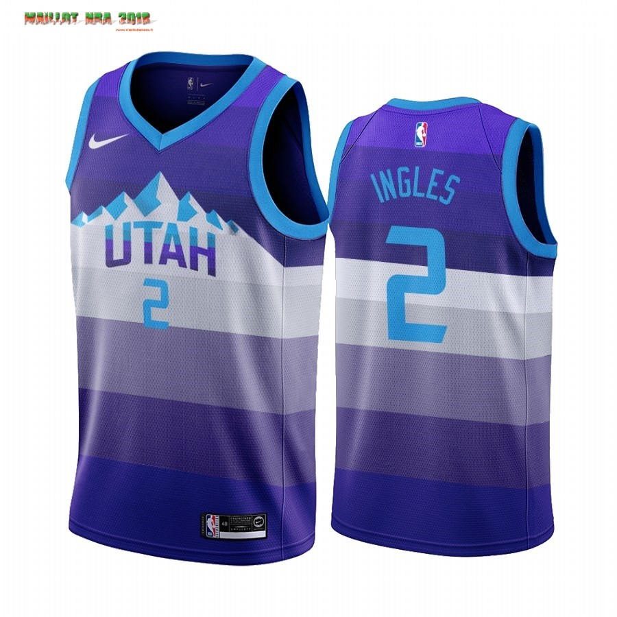 Maillot NBA Utah Jazz NO.2 Joe Ingles Pourpre Throwback