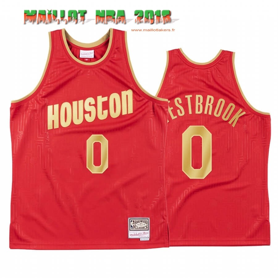 Maillot NBA CNY Throwback Houston Rockets NO.0 Russell Westbrook Rouge 2020