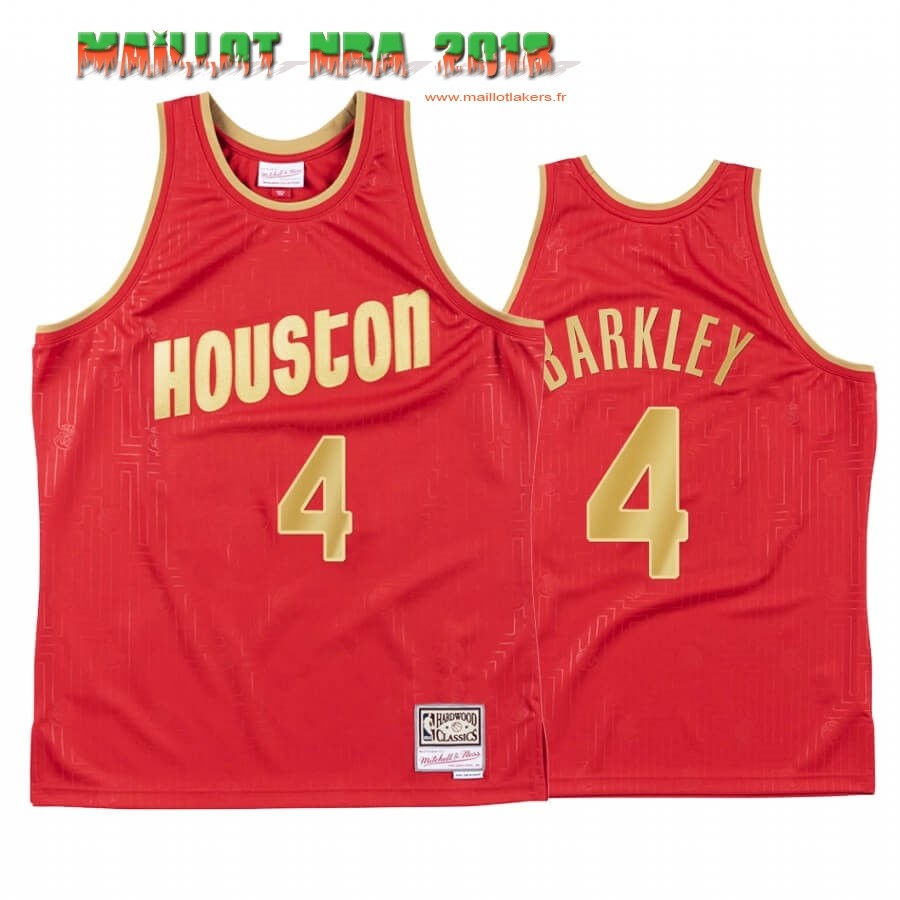 Maillot NBA CNY Throwback Houston Rockets NO.4 Charles Barkley Rouge 2020