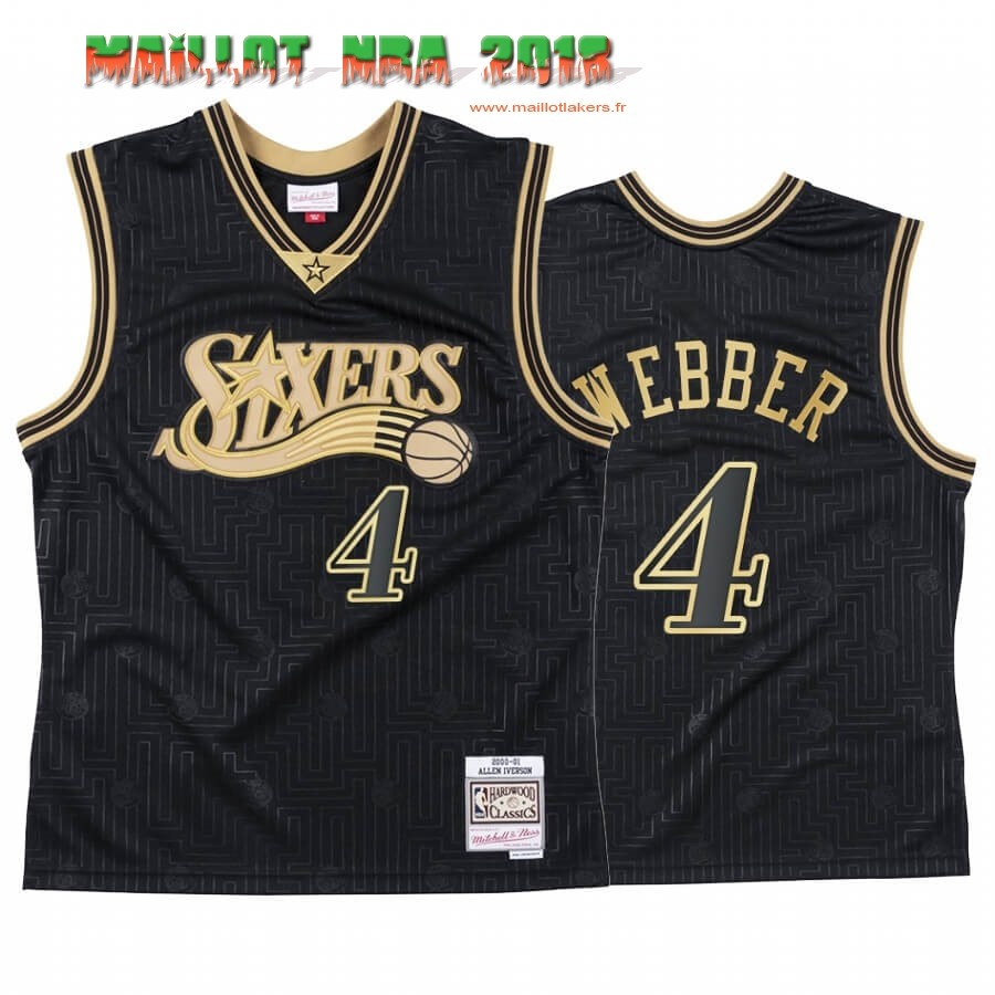 Maillot NBA CNY Throwback Philadelphia 76ers NO.4 Chris Webber Noir 2020
