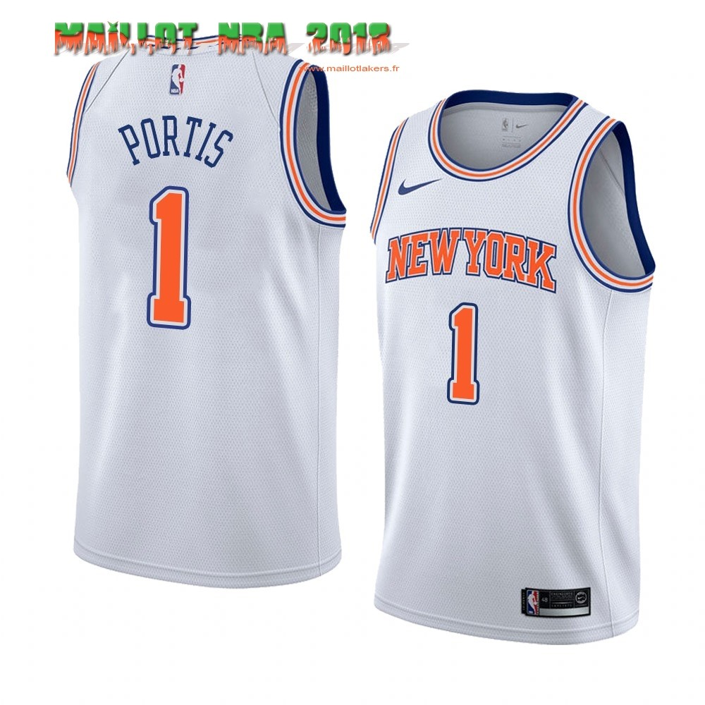 Maillot NBA Nike New York Knicks NO.1# Bobby Portis Blanc Statement 2019-20