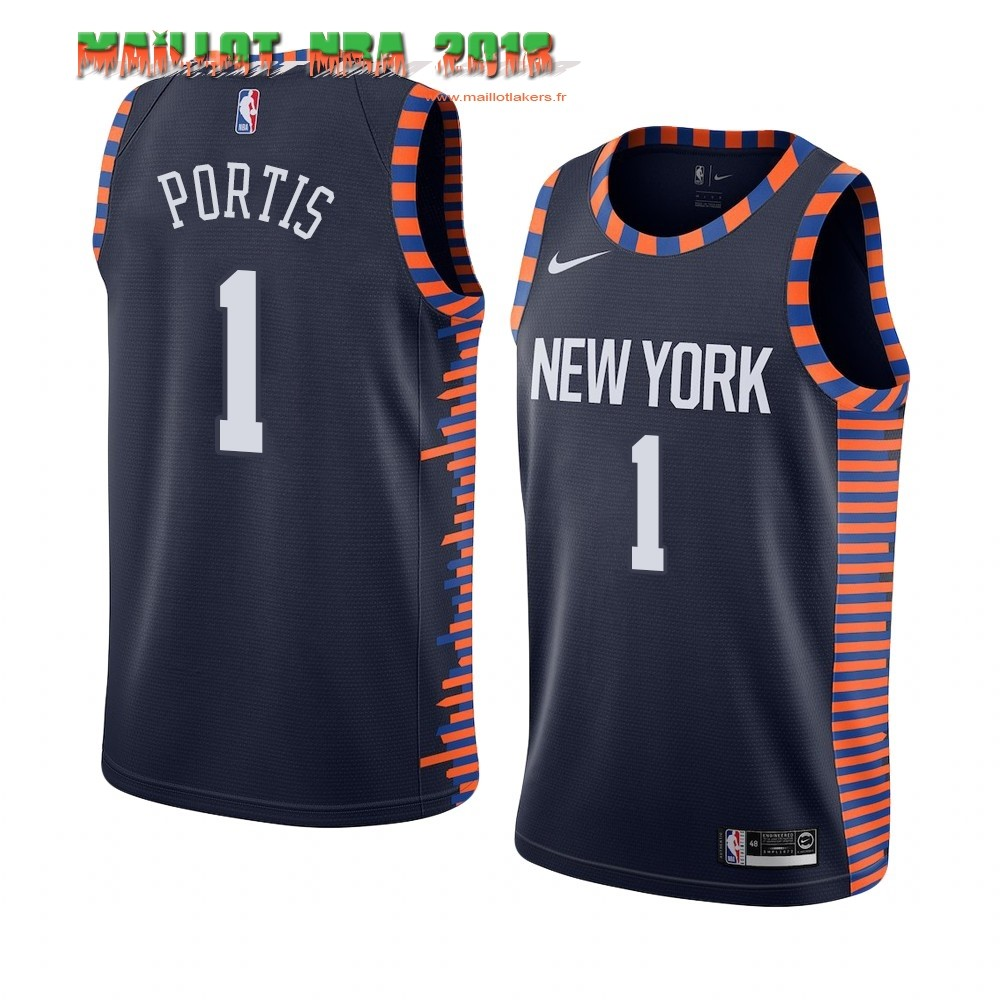 Maillot NBA Nike New York Knicks NO.1# Bobby Portis Marine Ville 2019-20