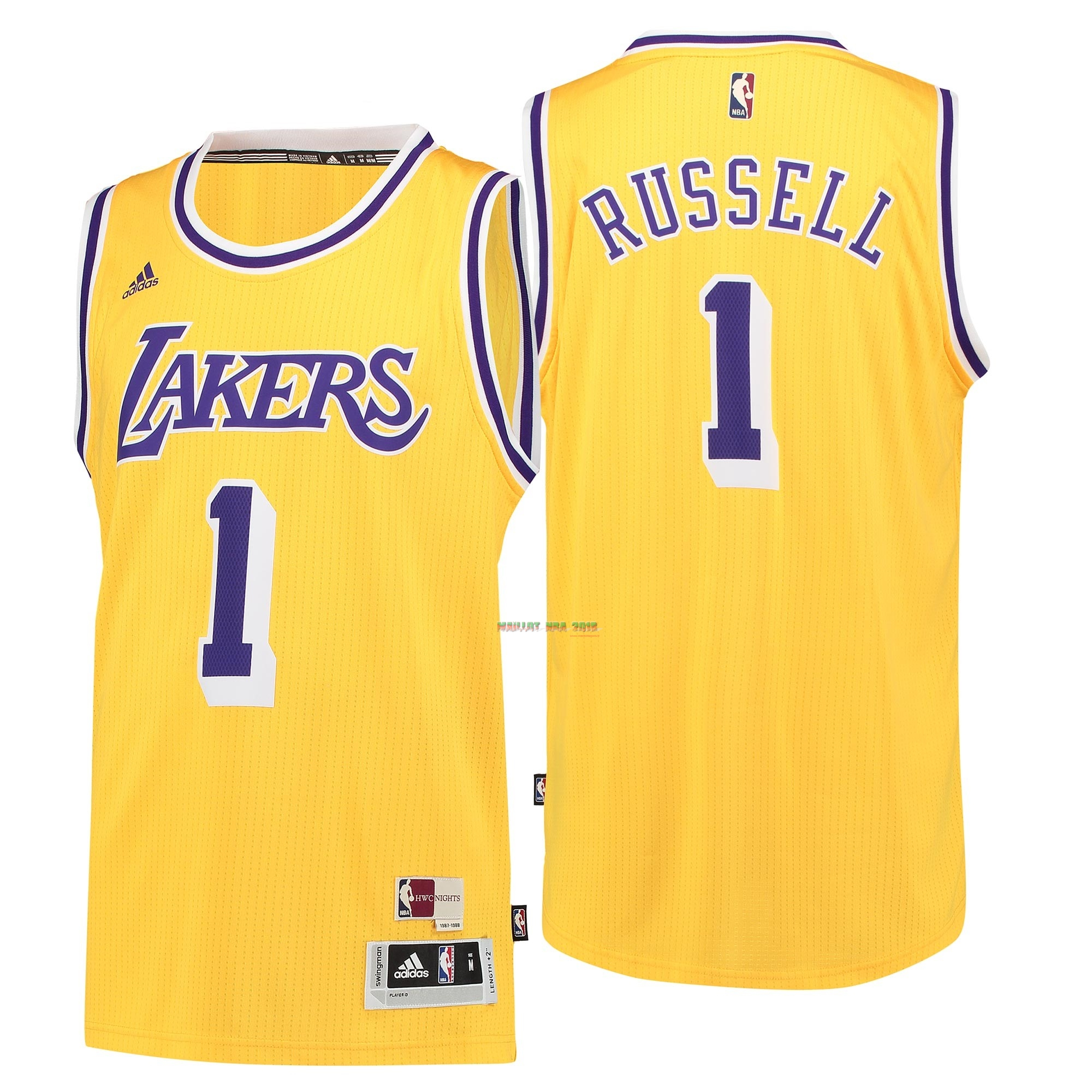 Maillot NBA Los Angeles Lakers NO.1 D'Angelo Russell Retro Bleu