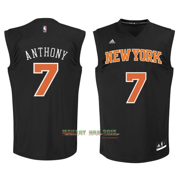 Maillot NBA New York Knicks NO.7 Carmelo Anthony Noir Orange