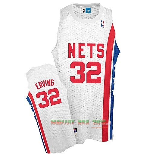Maillo ABA Brooklyn Nets NO.32 Erving Blanc