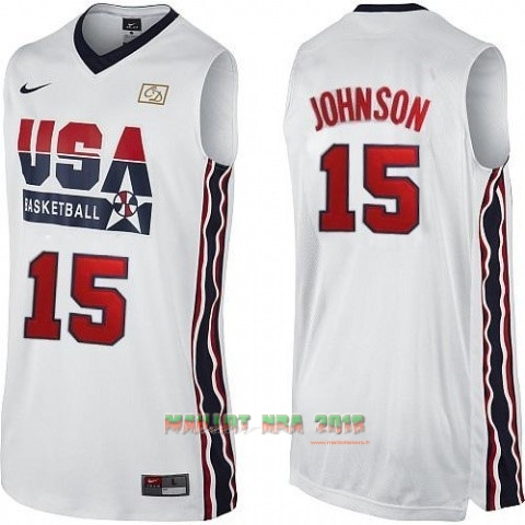 Maillot NBA 1992 USA NO.15 Johnson Blanc