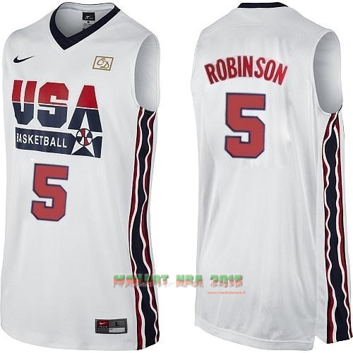 Maillot NBA 1992 USA NO.5 David Robinson Blanc
