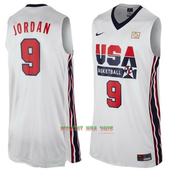 Maillot NBA 1992 USA NO.9 Jordan Blanc