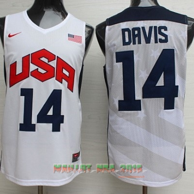 Maillot NBA 2012 USA NO.14 Anthony Davis Blanc
