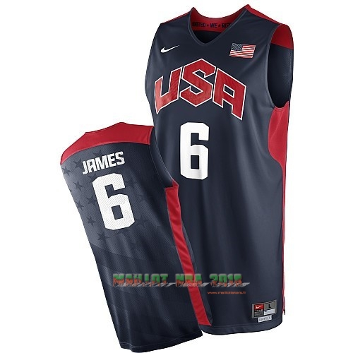 Maillot NBA 2012 USA NO.6 James Noir