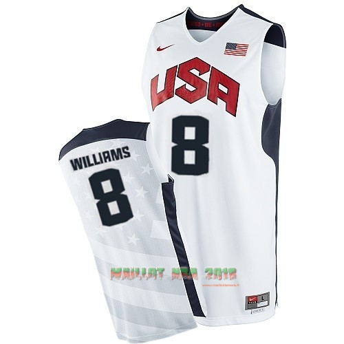 Maillot NBA 2012 USA NO.8 Williams Blanc