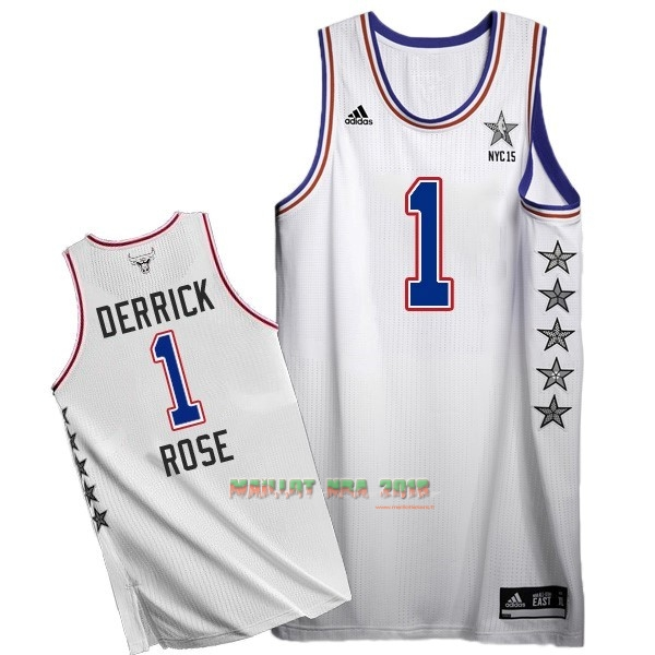 Maillot NBA 2015 All Star NO.1 Derrick Rose Blanc