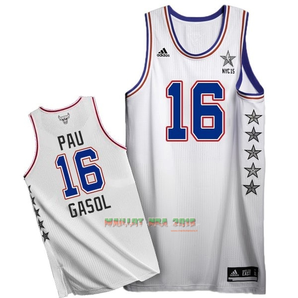 Maillot NBA 2015 All Star NO.16 Pau Gasol Blanc