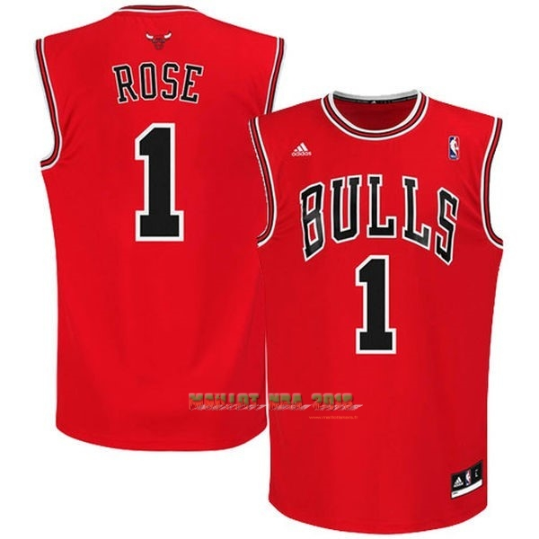 Maillot NBA Chicago Bulls NO.1 Derrick Rose Rouge