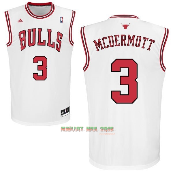 Maillot NBA Chicago Bulls NO.3 Doug McDermott Blanc
