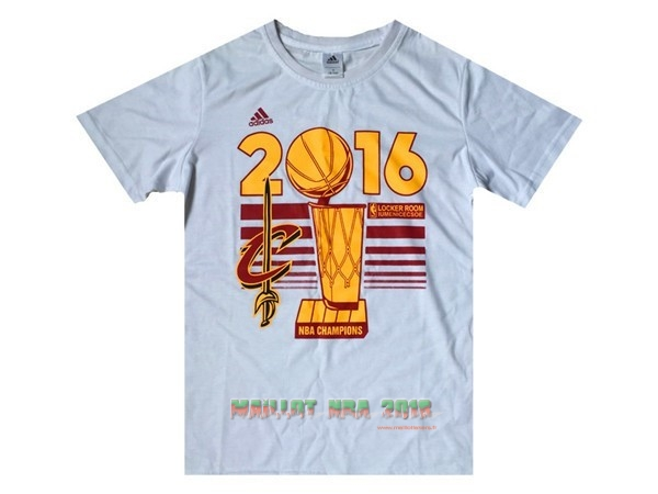 Maillot NBA Cleveland Cavaliers Manche Courte 2016 Final Champions Blanc