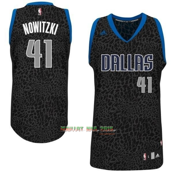 Maillot NBA Dallas Mavericks Luz Léopard NO.41 Nowitzki Noir